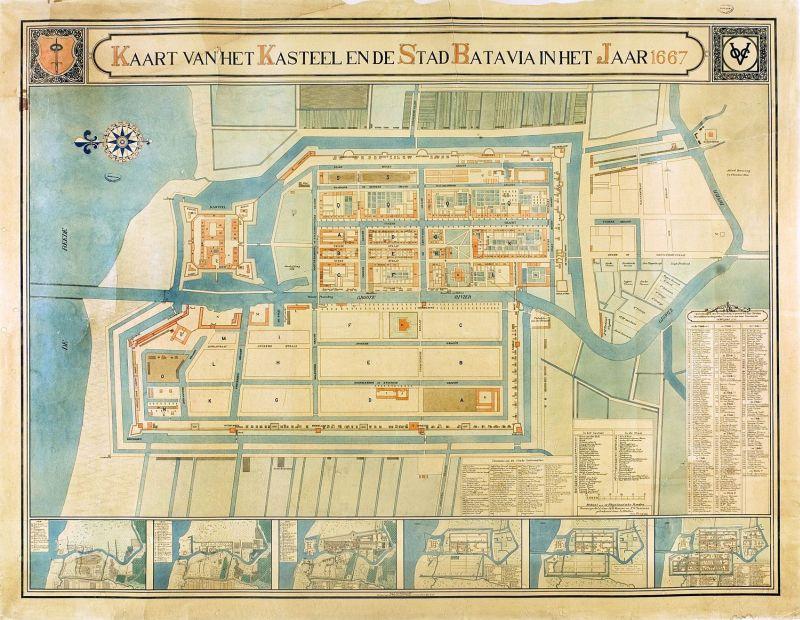 1667 COLLECTIE_TROPENMUSEUM_Kaart_voorstellende_het_Kasteel_en_de_Stad_Batavia_in_het_jaar_166...jpg