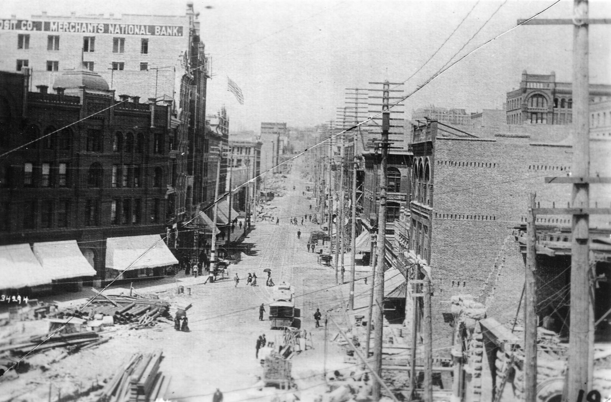 1st Ave., looking north from Pioneer Square, ca. 1890- 1.jpg