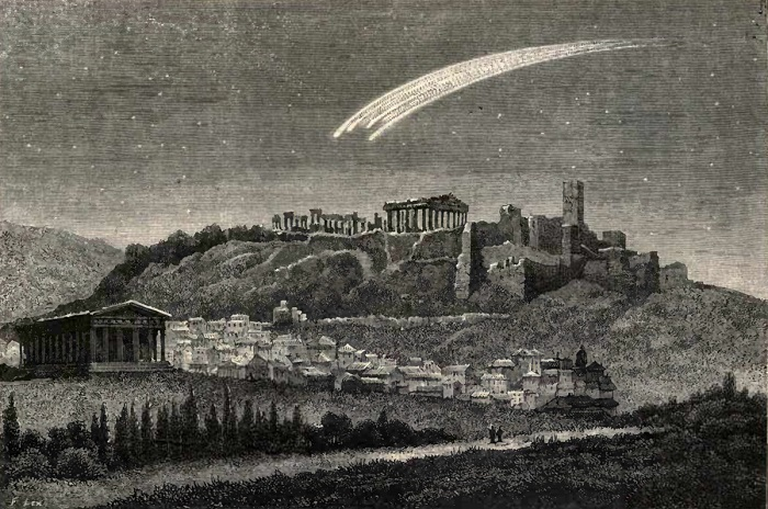 A bolide over Athens, from Jean Pierre Rambosson's book Astronomy, 1875..jpg