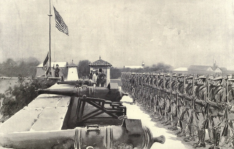 American_flag_raised_over_Fort_Santiago_8-13-1898.jpg