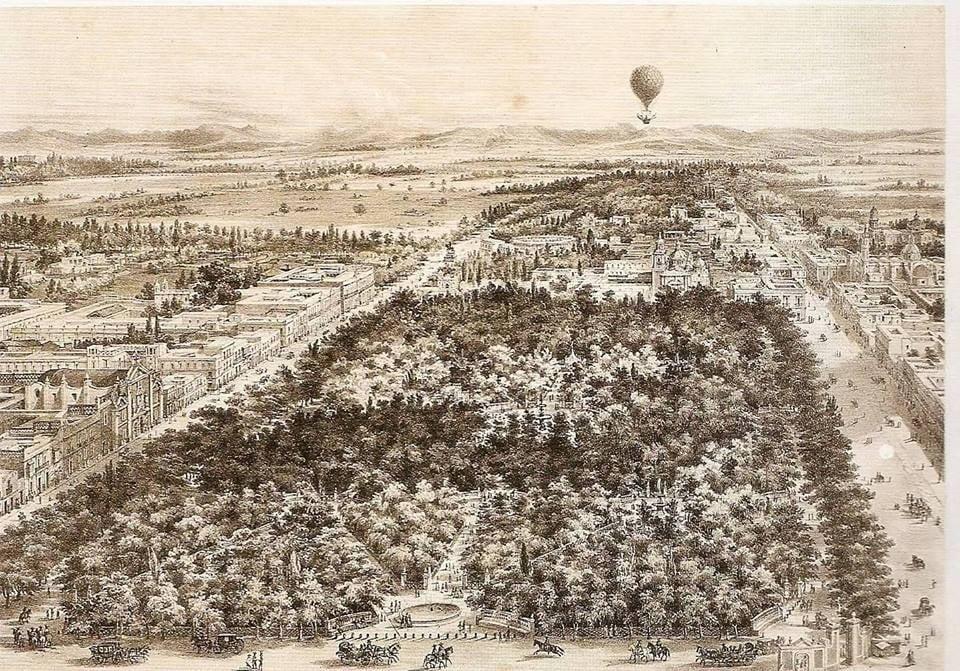 La Alameda de México, tomada en globo en la Ciudad de México litografía de Casimiro Castro y J...jpg