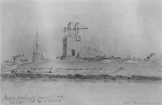 The Washington Monument and surrounding area, 24 September 1850, as drawn by Montgomery Meigs.jpg