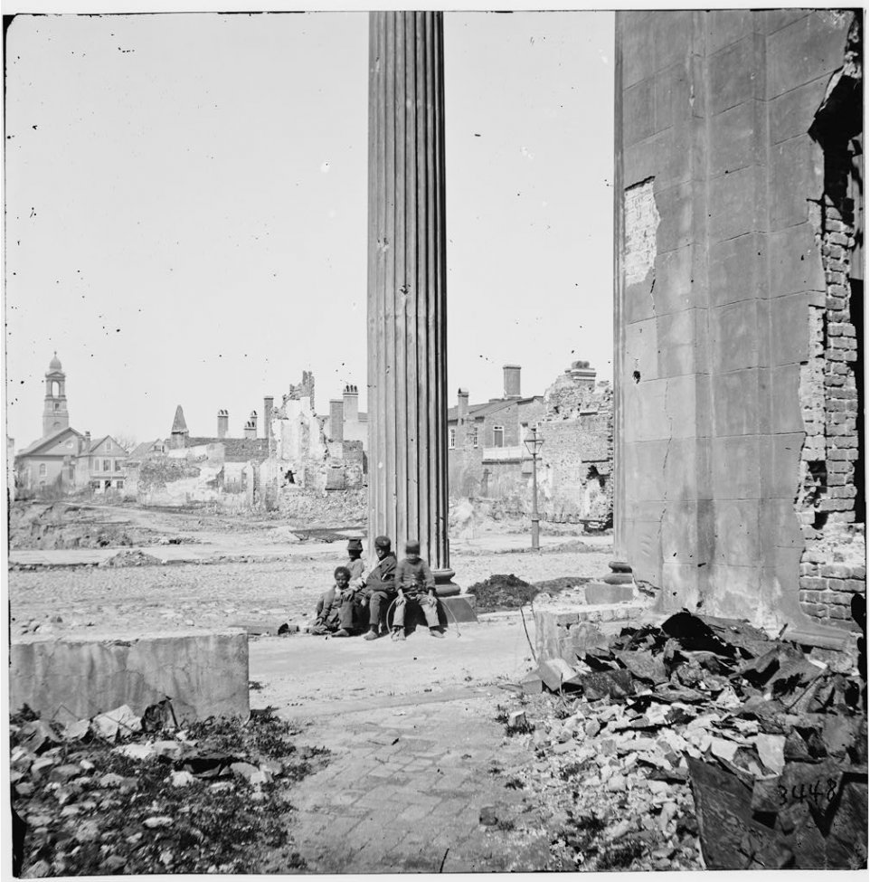View of Ruined Buildings Through Porch of the Circular Church (150 Meeting Street) - Charlesto...jpg