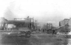 Looking east on Yesler Way from Post St., Seattle, June 5, 1889.jpg