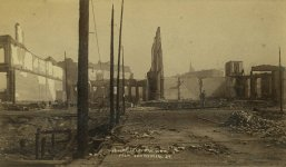 looking north on 1st Ave. S. at Yesler toward the ruins of the Yesler-Leary Building.jpg